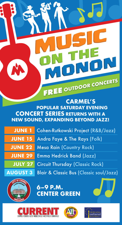 Enjoy A Musical Night of Live COUNTRY ROCK Music At The FREE Summer Concert Series On The Center Green: MUSIC ON THE MONON: Saturday, June 22nd!